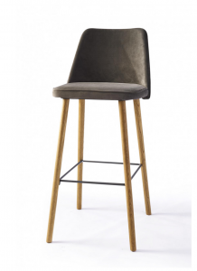 Hoker Vegas Bar Stool, velvet, slate grey