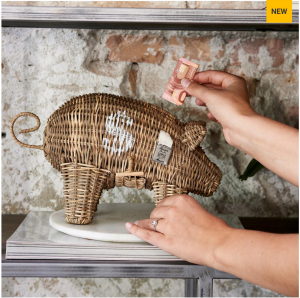 Skarbonka Rustic Rattan Piggy Money Saver