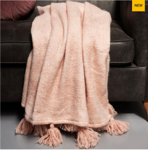 Pled Tassel Throw brushed pink 170x130