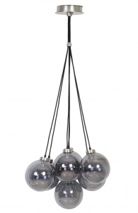 Lampa 7L E14 Ø20x24 cm ALVIDA glass smoke-nickel sati