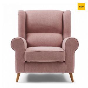 Fotel Delano Wing Chair, mouliné linen, paris pink