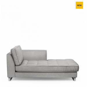 Szezlong West Houston Chaise Longue Right, velvet, platinum