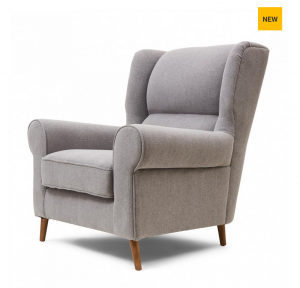 Fotel Delano Wing Chair, linen, elephant grey
