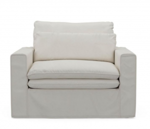Fotel Continental Love Seat, oxford weave, alaskan white