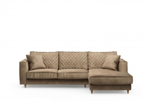 Narożnik Kendall Sofa with Chaise Longue Right, velvet, golden beige