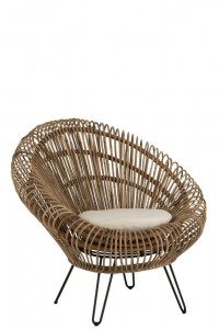 Fotel Vivi With Cushion Rattan/Iron Natural
