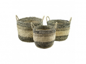 Kosze seagrass basket black stripe Set3