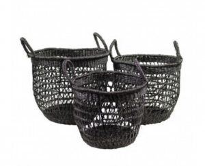 Kosze seagrass basket black (set of 3)