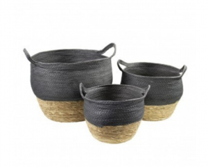 Kosze basket naturel black (set of3)