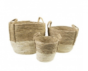 Kosze basket naturel ecru (set of3)