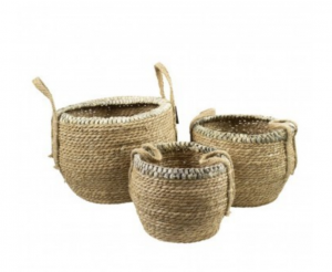 Kosze basket natural braided edge (set of 3)