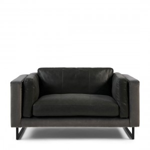 Fotel Biltmore Love Seat, leather, charcoal