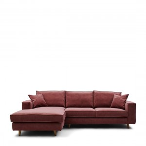 Narożnik Kendall Sofa With Chaise Longue Left, velvet, misty rose