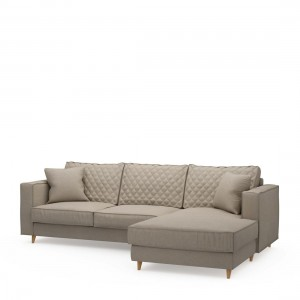 Narożnik Kendall Sofa with Chaise Longue Right, oxford weave, anvers flax