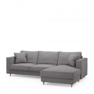 Narożnik Kendall Sofa with Chaise Longue Right, oxford weave, steel grey