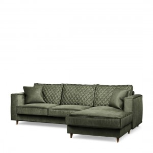 Narożnik Kendall Sofa with Chaise Longue Right, velvet, ivy