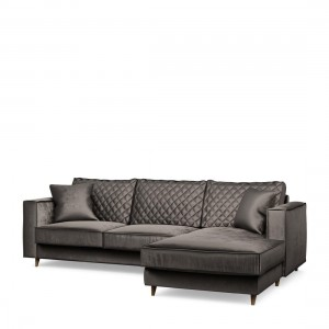 Narożnik Kendall Sofa with Chaise Longue Right, velvet, grimaldi grey