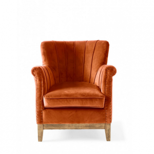 Fotel East Village Armchair, velvet, pumpkin